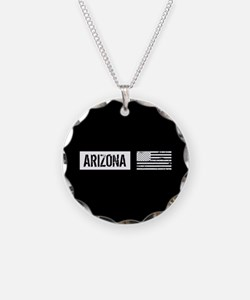 Black & White U.S. Flag: Ari Necklace Circle Charm