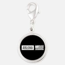 Black & White U.S. Flag: Arizo Silver Round Charm