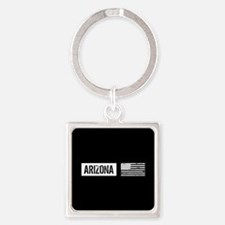 Black & White U.S. Flag: Arizona Square Keychain