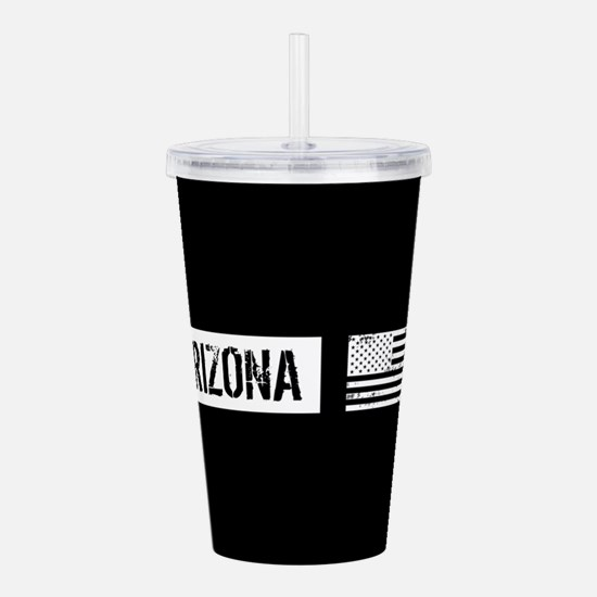 Black & White U.S. Fla Acrylic Double-wall Tumbler