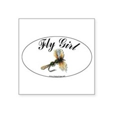 "Cute Fly fishing Square Sticker 3"" x 3"""