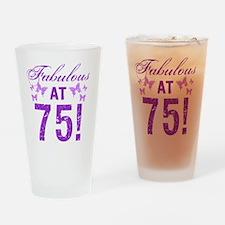 Fabulous 75th Birthday Drinking Glass