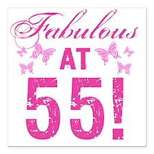 "Fabulous 55th Birthday Square Car Magnet 3"" x 3"""
