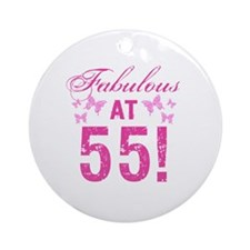 Fabulous 55th Birthday Round Ornament