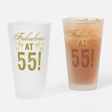 Fabulous 55th Birthday Drinking Glass