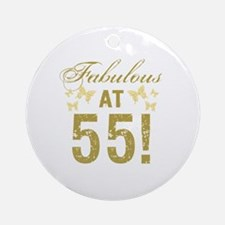 Fabulous 55th Birthday Round Ornament