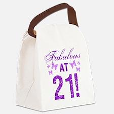 Fabulous 21st Birthday Canvas Lunch Bag