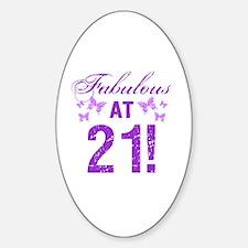 Fabulous 21st Birthday Sticker (Oval)
