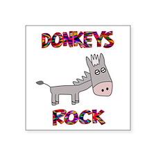 """Unique Donkey Square Sticker 3"""" x 3"""""""