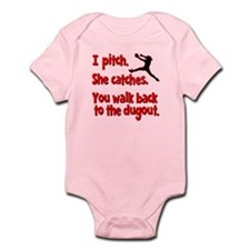 I PITCH, SHE CATCHERS Infant Bodysuit