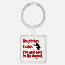 SHE PITCHES, I CATCH Square Keychain