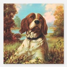 "Vintage Brittany Spaniel Square Car Magnet 3"" x 3"""