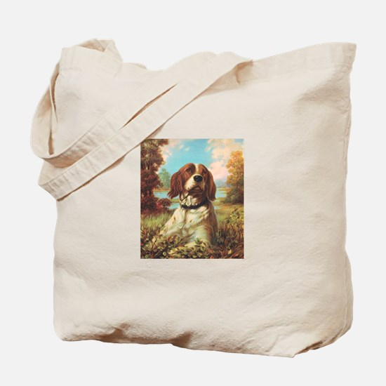 Vintage Brittany Spaniel Tote Bag