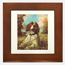 Vintage Brittany Spaniel Framed Tile