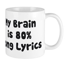 My Brain Is 80% Song Lyrics Mugs
