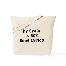 MY BRAIN IS 80% SONG LYRICS Tote Bag