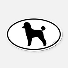 Toy Poodle Silhouette Oval Car Magnet