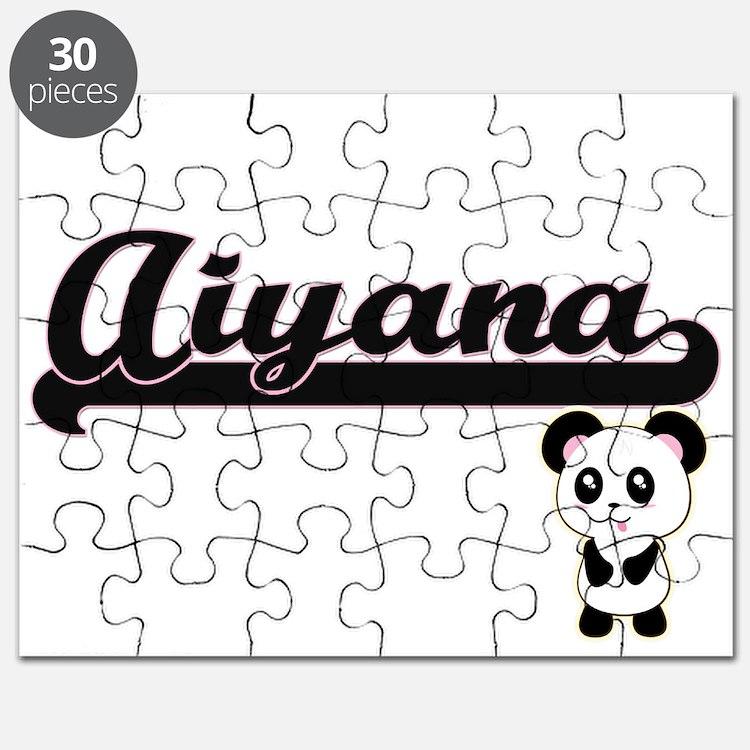 Aiyana Classic Retro Name Design with Panda Puzzle