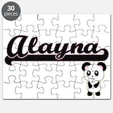 Alayna Classic Retro Name Design with Panda Puzzle