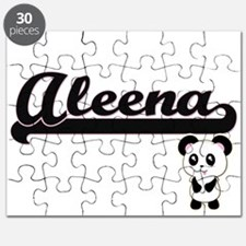 Aleena Classic Retro Name Design with Panda Puzzle