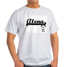 Alena Classic Retro Name Design with Panda T-Shirt