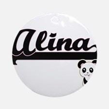 Alina Classic Retro Name Design w Ornament (Round)