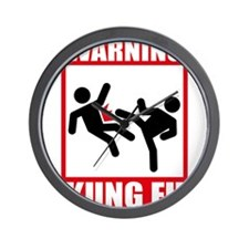 Warning: Kung Fu Wall Clock