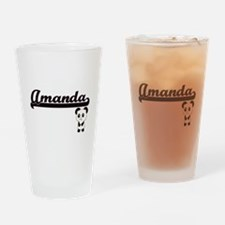 Amanda Classic Retro Name Design wi Drinking Glass