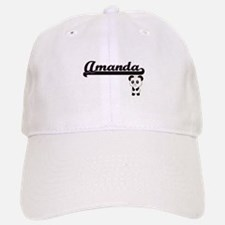 Amanda Classic Retro Name Design with Panda Baseball Baseball Cap