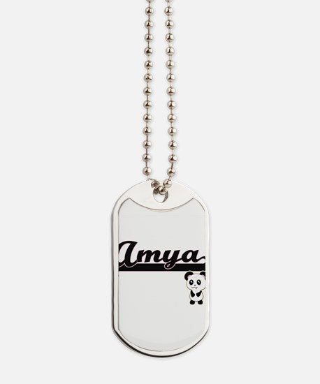Amya Classic Retro Name Design with Panda Dog Tags