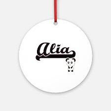 Alia Classic Retro Name Design wi Ornament (Round)