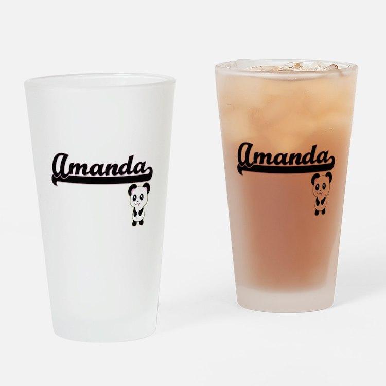 Amanda Classic Retro Name Design wi Drinking Glass