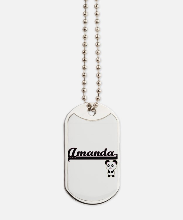 Amanda Classic Retro Name Design with Pan Dog Tags