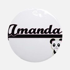 Amanda Classic Retro Name Design Ornament (Round)