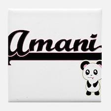 Amani Classic Retro Name Design with Tile Coaster