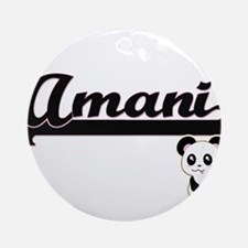 Amani Classic Retro Name Design w Ornament (Round)