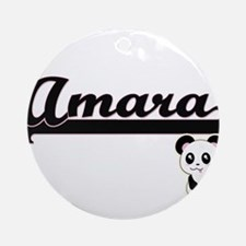 Amara Classic Retro Name Design w Ornament (Round)