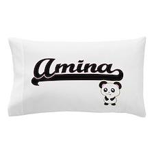 Amina Classic Retro Name Design with P Pillow Case