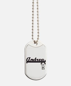 Andrea Classic Retro Name Design with Pan Dog Tags