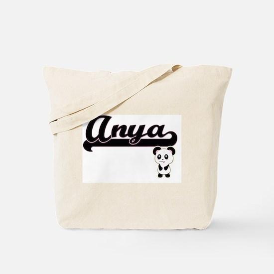 Anya Classic Retro Name Design with Panda Tote Bag