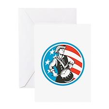 American Patriot Drummer USA Flag Circle Retro Gre