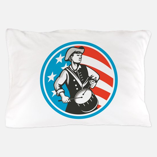 American Patriot Drummer USA Flag Circle Retro Pil