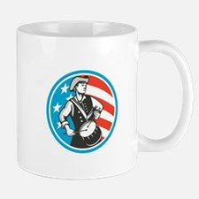 American Patriot Drummer USA Flag Circle Retro Mug