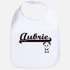 Aubrie Classic Retro Name Design with Panda Bib