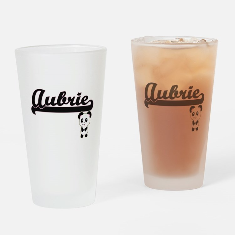 Aubrie Classic Retro Name Design wi Drinking Glass