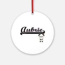 Aubrie Classic Retro Name Design Ornament (Round)
