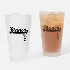 Bianca Classic Retro Name Design wi Drinking Glass