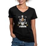 Dussault Family Crest Women's V-Neck Dark T-Shirt