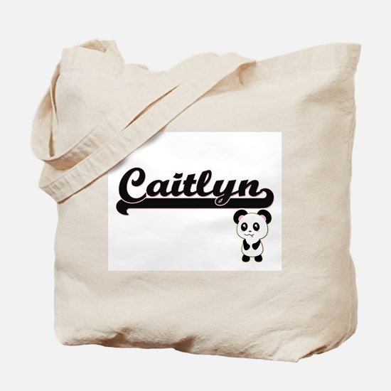 Caitlyn Classic Retro Name Design with Pa Tote Bag