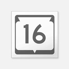 "Highway 16, Wisconsin Square Sticker 3"" x 3"""